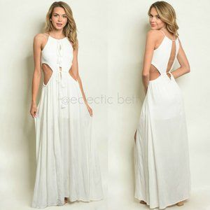 """""""All Inclusive"""" White Side Cut Out Maxi Dress"""